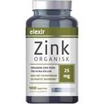 Elexir Organisk Zink 25 mg 100 tabletter