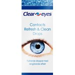 Clear Eyes Contacts Refresh & Clean Drops 15 ml