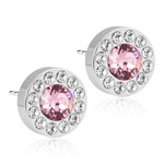Blomdahl Örhängen Brilliance Halo Crystal/Light Rose Silver 8 mm