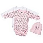 Baby NewBorn Body 2-pack + Mössa Vit/Rosa Enhörning