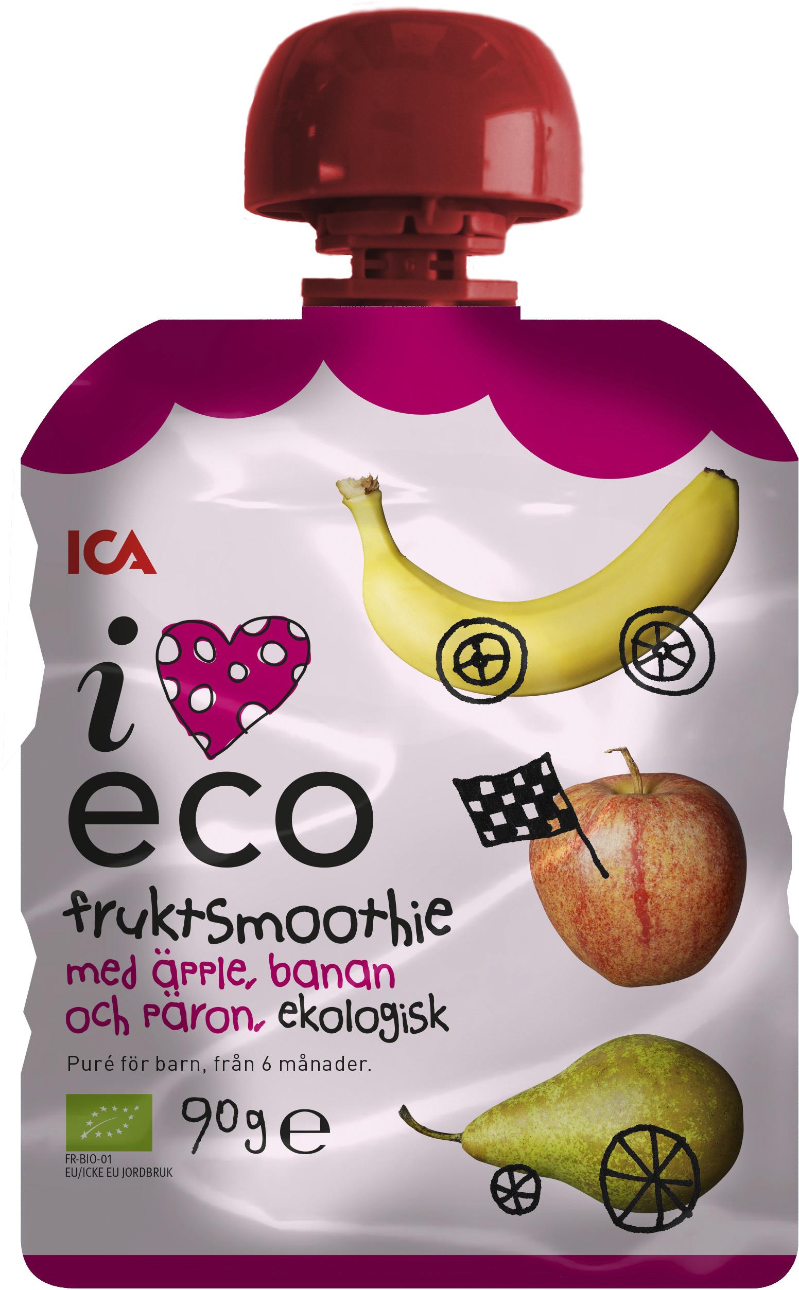 ICA I Love Eco Fruktsmoothie Äpple Banan 90 g - Apotek Hjärtat 6503abff0bf11