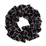 Hermine Hold Isabella Silk Scrunchie Black-White
