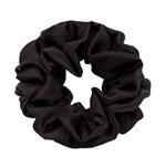 Hermine Hold Solid Silk Scrunchie Black
