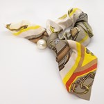 Add A Little Something Bow Scrunchie Paisley Beige