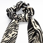 Add A Little Something Bow Scrunchie Long Zebra BlackWhite