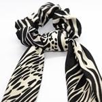 Add A Little Something Bow Scrunchie Long Zebra BlackWhite