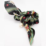 Add A Little Something Bow Scrunchie Paisley Green