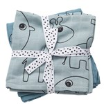 Done by Deer Burp Cloth Contour Blue 2-pack