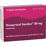 Omeprazol Sandoz enterokapsel 20 mg 14 st