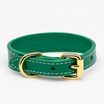 Collar of Sweden Green Leather Collar Small Thin hundhalsband