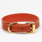 Collar of Sweden Cognac Leather Collar Small Thin hundhalsband