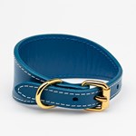 Collar of Sweden Blue Leather Collar Small Wide hundhalsband
