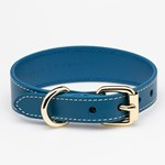 Collar of Sweden Blue Leather Collar Medium Thin hundhalsband