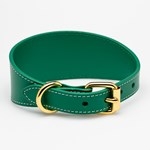 Collar of Sweden Green Leather Collar Medium Wide hundhalsband