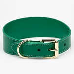 Collar of Sweden Green Leather Collar Large Wide hundhalsband