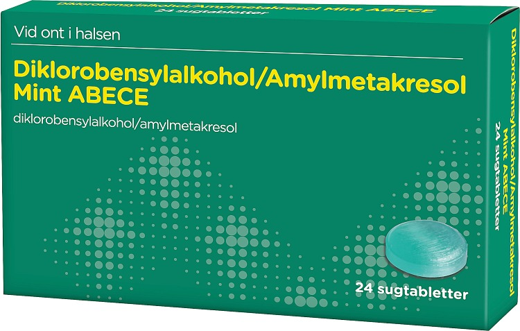 ABECE Sugtablett Mint Diklorobensylalkohol/Amylmetakresol, 24 st