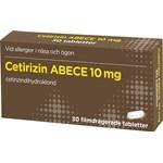 Cetirizin ABECE Filmdragerad tablett 10mg Blister, 30tabletter