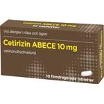 Cetirizin ABECE filmdragerad tablett 10 mg 10 st