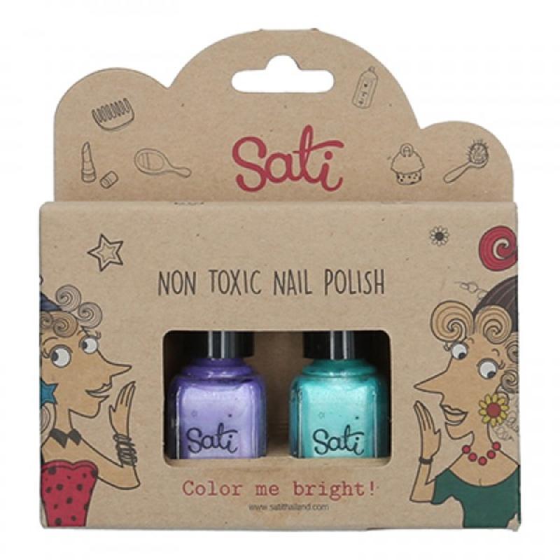 Sati Nagellack Giftfritt 2-pack Purple & Green